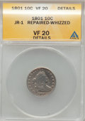 Early Dimes: , 1801 10C --Repaired, Whizzed-- ANACS. VF20 Details. JR-1. NGCCensus: (1/21). PCGS Population (0/25). Mintage: 34,640. Numi...