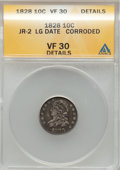 Bust Dimes, 1828 10C Large Date--Corroded-- ANACS. VF30 Details. JR-2. NGCCensus: (1/20). PCGS Population (1/21). Mintage: 125,000. Nu...