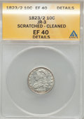 Bust Dimes: , 1823/2 10C Small Es--Cleaned, Scratched-- ANACS. XF40 Details.JR-3. NGC Census: (4/70). PCGS Population (4/54). Mintage: ...