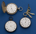 Timepieces:Pocket (pre 1900) , Three Swiss Silver Key Winds Pocket Watches . ... (Total: 3 Items)