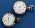 Timepieces:Pocket (post 1900), Two Private Label Pocket Watches Illinois 18 Size TransitionalHamilton 16 Size - 977 - 16 Jewel. ... (Total: 2 Items)