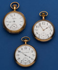 Timepieces:Pocket (post 1900), Three Pocket Watches - Hampden, Illinois & Waltham 16 SizeRunners. ... (Total: 3 Items)