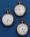 Timepieces:Pocket (post 1900), Three Pocket Watches Two Elgin One Waltham 16 Sizes Runners. ...(Total: 3 Items)