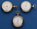 Timepieces:Pocket (post 1900), Hampden Perry & Hampden Fancy Dial & Waltham 18 SizesRunners. ... (Total: 3 Items)