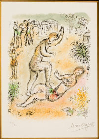 MARC CHAGALL (Belorussian, 1887-1985) Combat between Ulysses and Irus (from Odyssey II) Color lithog