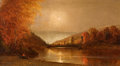 American:Hudson River School, AMERICAN SCHOOL (19th Century). Sunset in the Adirondacks withFisherman, circa 1870. Oil on canvas. 18 x 28-1/2 inches ...