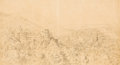 Fine Art - Work on Paper:Drawing, Attributed to RUDOLF VON ALT (Austrian, 1812-1905). PanoramicView of Vienna. Pencil on paper. 10-1/4 x 19 inches (26.0 ...