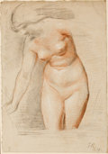 Fine Art - Work on Paper:Drawing, GEORGE RICHMOND (British, 1809-1896). Girl Bathing(two-sided drawing), 1879. Black, red, and white chalk on paper. 16x...