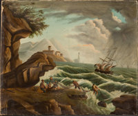 Attributed to THOMAS CHAMBERS (American, 1819-1888) Hauling in the Nets with a Squall Offshore Oil o