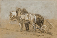 CONSTANT TROYON (French, 1810-1865) Team of Plow Horses Chalk, charcoal and graphite on paper 7 x