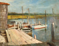 Fine Art - Painting, American:Modern  (1900 1949)  , S. MARKES (American, 20th Century). Dock Scene, circa1940-50. Oil on masonite. 15-1/2 x 19-1/2 inches (39.4 x 49.5cm)...
