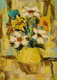 GINO BIGIANNI (Italian, 20th Century) Abstract Floral Still Life Oil on canvas 28 x 19-1/2 inches