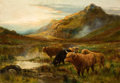 Fine Art - Painting, European:Antique  (Pre 1900), LOUIS BOSWORTH HURT (British, 1881-1929). Cattle in a HighlandLandscape, circa 1900. Oil on canvas. 28 x 40 inches (71....