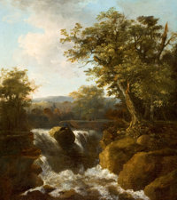 Manner of ALLAERT VAN EVERDINGEN (Dutch, 1621-1675) Norwegian Landscape with Waterfall Oil on canvas