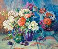Fine Art - Painting, American:Modern  (1900 1949)  , FRANCES HUDSON STORRS (American, 1860-1945). Still Life withFlowers, Vases and Plums, circa 1929-30. Oil on artists' bo...