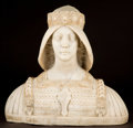 Marble:European, ITALIAN MARBLE BUST OF A QUEEN WEARING A CROWN AND A CUIRASS . 24 x28 x 11 inches (61.0 x 71.1 x 27.9 cm). Along the base o...