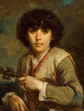 Paintings, PROPERTY FROM THE ESTATE OF EDWARD A. KOPINITZ. CONTINENTAL SCHOOL (19th Century). Boy with Violin. Oil on canvas. 25-...