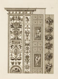 Decorative Prints, European:Prints, A SET OF FOUR FRAMED BLACK AND WHITE ITALIAN ENGRAVINGS OF DOORPANELS IN THE VATICAN, AFTER JOHANN OTTAVIANI, FROM LES ...(Total: 4 Items)