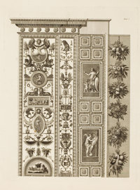 A SET OF FOUR FRAMED BLACK AND WHITE ITALIAN ENGRAVINGS OF DOOR PANELS IN THE VATICAN, AFTER JOHANN OTTAVIANI, FROM &...