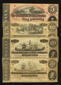 Confederate Notes:1864 Issues, T67 $20 1864 Two Examples. T68 $10 1864. T69 $5 1864.. ... (Total: 4 notes)