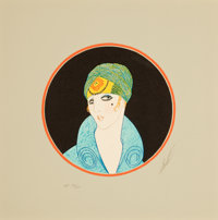 ERTÉ (ROMAIN DE TIRTOFF) (Russian/French, 1892-1990) Lady with a Turban Serigraph 8-1/2 x 8-1/2 i