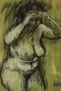 Works on Paper, LEON KARP (American, 1903-1951). Female Nude. Charcoal with white heightening on green toned cold pressed paper board. 1...