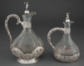Silver Holloware, Continental:Holloware, TWO FINNISH SILVER MOUNTED ETCHED GLASS DECANTERS WITH STOPPERS .Helsinki, Finland, 1936. Marks: (crown), (boat), OL, 813...(Total: 2 Items)