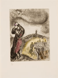 MARC CHAGALL (Belorussian, 1887-1985) David montant la Colline des Oliviers, pl. 71 Handcolored etch