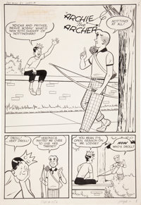 "Harry Lucey and Terry Szenics (attributed) Pep Comics #150 Archie ""Archie the Archer"" page 1 Original Art (Arc..."