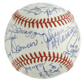 "Autographs:Baseballs, Radio City Music Hall ""Night of 100 Stars"" Multi-Signed Baseball.Twenty-one signatures were applied to the offered ONL (W..."