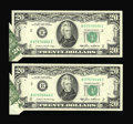 Error Notes:Foldovers, Fr. 2075-B $20 1985 Federal Reserve Notes. Two Examples ChoiceAbout Uncirculated.. ... (Total: 2 notes)