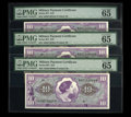 Military Payment Certificates:Series 651, Series 651 $10 Three Consecutive Examples PMG Gem Uncirculated 65EPQ. Just a little more margin propels this pair to a high...(Total: 3 notes)