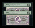 Military Payment Certificates:Series 651, Series 651 $10 Two Consecutive Examples PMG Gem Uncirculated 66EPQ.With this series the prefix and suffix letters reverted ... (Total:2 notes)