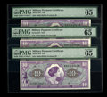 Military Payment Certificates:Series 651, Series 651 $10 Three Consecutive Examples PMG Gem Uncirculated 65EPQ. This female portrait was originally used as one of th...(Total: 3 notes)