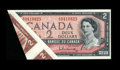 Canadian Currency: , BC-38b $2 1954 Gem Crisp Uncirculated. A large foldover error isfound on this $2. This foldover includes part of the adjace...