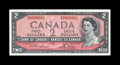 Canadian Currency: , BC38d $2 1954. A bright and nicely centered piece which hasretained its full originality and bears serial number N/G0000001...