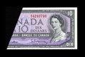 Canadian Currency: , BC-40b $10 1954 Gem Crisp Uncirculated. This $10 has a largefoldover error in the upper left corner. This foldover exhibits...