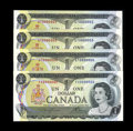 Canadian Currency: , Low Serial Number Lawson-Bouey Collection.. BC-46a $1 1973 FourConsecutive Examples Gem CU. The splendid notes in this ... (Total:4 notes)