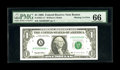 Fr. 1921-A* $1 1995 Federal Reserve Note. PMG Gem Uncirculated 66. From our Taylor family sale where it realized over $3...