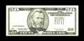 Fr. 2126-B $50 1996 Federal Reserve Note. Choice Crisp Uncirculated. The third printing is about 99% missing on this $50...