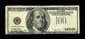 Error Notes:Third Printing on Reverse, Fr. 2175-B $100 1996 Federal Reserve Note. Fine.. The third printing on this $100 is found on the back and it is inverted. T...