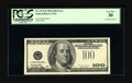 Error Notes:Third Printing on Reverse, Fr. 2175-K $100 1996 Federal Reserve Note. PCGS Very Fine 30.. The green portion of the overprint appears on the back of thi...
