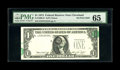 Error Notes:Shifted Third Printing, Fr. 1908-D $1 1974 Federal Reserve Note. PMG Gem Uncirculated 65.. This is a nifty skewed third print that shows two partial...