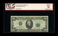 Error Notes:Skewed Reverse Printing, Fr. 2074-D $20 1981A Federal Reserve Note. PCGS About New 50.. Thisnote has a neat misaligned back error that shows a moder...