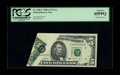 Error Notes:Foldovers, Fr. 1980-C $5 1988A Federal Reserve Note. PCGS Gem New 65PPQ.. Thisis a neat foldover that shows much of the top selvage th...