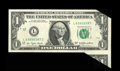 Error Notes:Foldovers, Fr. 2168-L $100 1977 Federal Reserve Note. Gem Crisp Uncirculated..A portion of the below adjacent note remains with the ho...