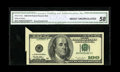 Error Notes:Foldovers, Fr. 2175-B $100 1996 Federal Reserve Note. CGA About Uncirculated58.. This is a neat error that is rarely seen on the Big H...