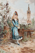 Fine Art - Painting, European, RAMON ALORDA PÉREZ (Spanish, 1848-1899). Young Spanish Woman inCartuja Park, Seville, 1893. Oil on porcelain. 17-1/2 x ...