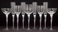 Decorative Arts, Continental:Lamps & Lighting, ART DECO STYLE FIFTY PIECE SET OF FIGURAL GLASS STEMWARE . 10-1/2inches high (26.7 cm). ... (Total: 50 Items)