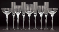 ART DECO STYLE FIFTY PIECE SET OF FIGURAL GLASS STEMWARE 10-1/2 inches high (26.7 cm)